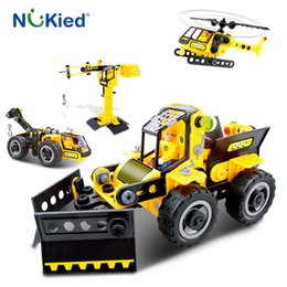 Wholesale Crane Plastics - NUKied 6 Style City Construction Forklift Graders Sweeper Truck Bulldozer Helicopter Crane DIY Model Buliding Block Toy