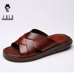 Wholesale New Sandals For Men - Scuffs High Quality New Men Sandals Leather Casual Summer Shoes Male Slippers Soft Bottom Sandals For Men Shoes High Yellow Blac beach shoes