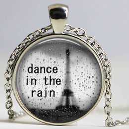 Wholesale Rain Chains - Dance in the Rain Necklace Inspirational Quote Pendant Necklace or Keyring