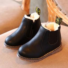 Wholesale Flower Girl Boots - 1Pair Autumn Children PU Shoes Boys Girls Children Boots Winter Retro Martin Boots Kids Solid Boots 21-36