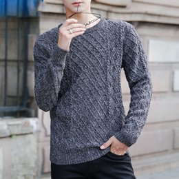 Wholesale Korean Winter Fashion For Male - Knitted pullover grey sweater korean style cotton mens sweater warm winter fashion sweater for male