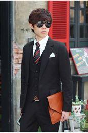 Wholesale Korean Suits Ties - Wholesale- Men's suits suits Korean silm style one button 4 pieces jacket+pant+shirt+tie business casual wedding
