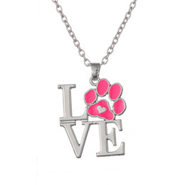 Wholesale Rhinestone Paw Print - Free shipping Pink Enamel Animal Pet Dog Cat Paw Print Heart Pendant Necklace for Little Girls party dress jewelry