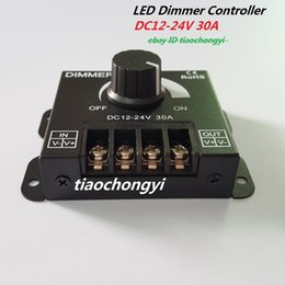 Wholesale 12 Dc Dimmer Switch - Black DC12V-24V 30A 360W 2CH LED Switch Dimmer Controller For Led Strip Single Color DC 12V 24V 30A 360W 2CH LED Switch Dimmer Controller F