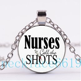 Wholesale Wholesale Nurse Gifts - 10Pcs Nurses Call the Shots Necklace Pendant,Christmas Gift,birthday Gift,Cabochon Glass Necklace,silver black Fashion Jewelry R-1088