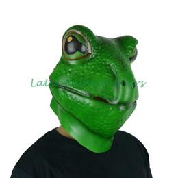 2019 cagoule Gros-Haute qualité latex grenouille masque tête animal masque caoutchouc latex pleine tête grenouille hotte cosplay masque cagoule pas cher