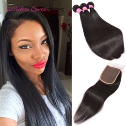 Wholesale Top Closures For Weaves - Mongolian Silky Straight Human Hair Weaves 3 Bundles With Lace Closure Three Middle Free Part For Choice Best Cheap Mongolian Top Closure