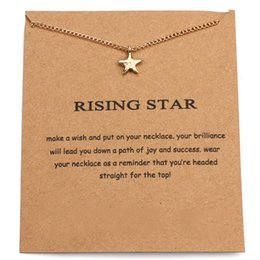 Wholesale Rose Gold Star Necklace - 10PCS Rising Star Chain Necklace Wish Card Five Pointed Star Pentangle Pendant Chain Necklace Jewelry Gift