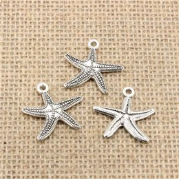 Wholesale wholesale starfish for jewelry making - Wholesale 50pcs Charms Tibetan Silver Plated marine starfish 25*26mm Pendant for Jewelry DIY Hand Made Fitting