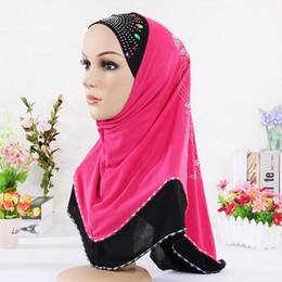 Wholesale Embellished Lace Headband - 2016 New Women Multicolor Crystal Printed Muslim Hijab, Winter Warm Purple Lace Underwear Headband Scarves