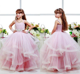 Wholesale 2t Glitz Pageant Dresses - Pink Glitz Flower Girls Dresses Child Ball Gowns Spagheti Strap Kid Party Birthday Communion Dress Back Lace Up Layers Girls Pageant Dress