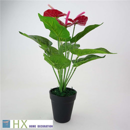 Wholesale Indoor Artificial Trees - Free Shipping(12 leaves pcs 2pcs lot)Anthurium plants, Artificial tree,Artificial plants,home decoration,indoor plants