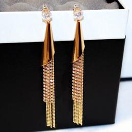 Wholesale Czech Earrings - Real Gold plated tassel earring for women 2016 new style Czech stone chandeliers earrings dangle earrings