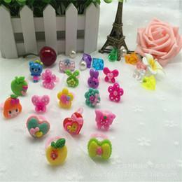 Wholesale Korean Cartoon Ring - Cute Children's Rings Korean Cartoon Children's Jewelry Candy Colored Resin Opening Ring Girl Gifts For Children