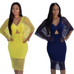 Sexy Verão Lace Manto Vestido Novo Padrão mulheres oco out 2 peça conjunto laço amarelo vestido casual de
