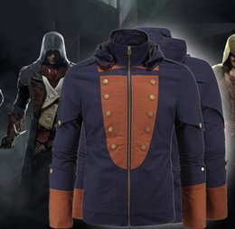 Wholesale Hot Superhero Costumes - 2016 Hot Assassin's Creed costumes Jacket men fashion Mission cosplay Hoodies Movie The Avengers superhero roleplay Halloween party costume
