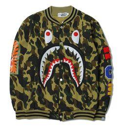 Wholesale Baseball Hoodie For Women - Camouflage shark hoodies for men women sweatshirt sweats Harajuku streetwear hoodie mens hip hop KANYE hoodies cardigan baseball jackets