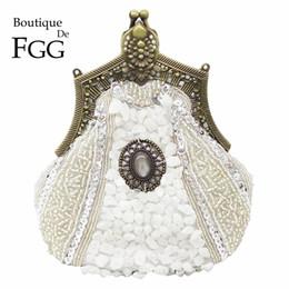 Bronze Women Beaded Pearl Sequin Evening Party Silver Clutch Bags Borse da sposa e portamonete da sposa da