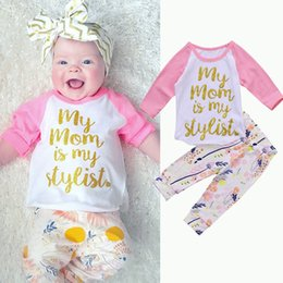 Wholesale Kids Floral Leggings - Baby Girls Clothing set Infant Newborn Toddler Outfit Top T-shirt+Floral Leggings Pants Kid Clothing Suit