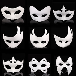Wholesale Plain Paper Masquerade Masks - White Unpainted Face Plain Blank Paper Pulp Mask DIY Dancing Christmas Halloween Party Masquerade Mask ZA4617