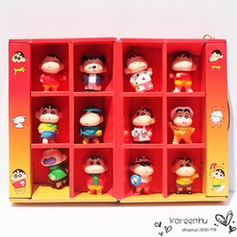 Wholesale One Piece Figures 5cm - 2016 Sale One Piece Naruto 12pcs set Anime Cartoon Crayon Shin Chan Pvc Action Figure Collection Model Doll Toys 5cm Approx Retail with Box
