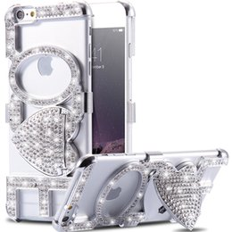 Wholesale Luxury Rhinestone Mobile Cases - Wholesale-Luxury Rhinestone Kiss Love Stand Case For iPhone 6 6S 4.7& 6 6s plus 5.5 Woman Girl Stylish Cellphone Cover Sexy Mobile Bag