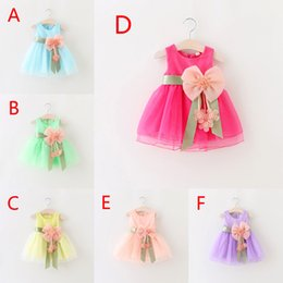 Wholesale Girls Print Skirt - 6 Color Girl flower peal bowknot lace Dress Fashion princess party Print Rainbow colors sleeveless tutu Dress skirt B001