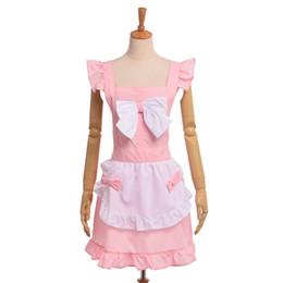 Wholesale Maid Uniform Cute - Women Aprons Lolita Bow Florist Lace Maid Cosplay Uniforms Cute Shop Baking Girl's Apron Dress Pink Black