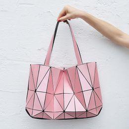 Wholesale Gold Shimmer Dress - 2017 New Women Fashion BAOBAO Bag Geometry Package Matte Saser Plain Folding Ladies Handbags Sac Shoulder Bags Tote Bags