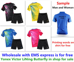 Wholesale 6xl T Shirts - Wholesale EMS for free, Text printing for free, new badminton shirt clothes table tennis T sport shirt clothes 1081