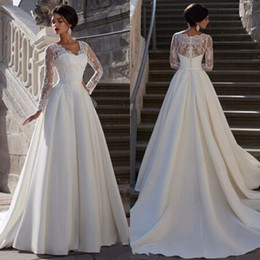 Wholesale China Custom Made Lace Dress - Modest 2016 Ivory Stain Long Sleeve A-line Wedding Dresses Cheap Arabic V Neck Beaded Long Bridal Gowns Custom Made China EN90220