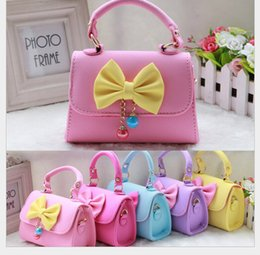 Wholesale Women Birthday Purse - Wholesale-2016 bow bags children handbags for girls kids mini messagers crossbody bags purse children princess bows bags birthdays gifts