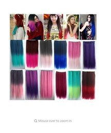 Wholesale heat resistant synthetic hair extension - 4 5 Clips Heat Resistant Fiber Synthetic Hair Extensions Straight T Color More Colors Womens High Temperature Hairpiece