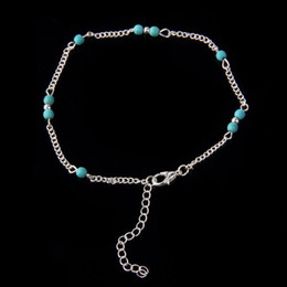 Wholesale Wholesale Jewelry Ships Fast - Unique Nice Turquoise Beads Silver Chain Anklet souvenir Ankle Bracelet Foot Jewelry Fast Free Shipping New Hot Selling ZA0009