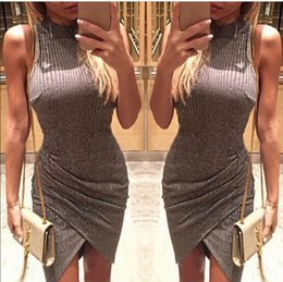 Wholesale Hot Slim Tight Dress - 2016 Europe Style Women's tight skirt Women High-necked sleeveless Slim Package hip dress fashion hot Sweater dress