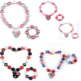 Wholesale Chunky Beads For Kids - 2016 New arrival Chunky Bubblegum Rhinestone Beads With Minnie Head Pendant Necklace Bracelet Set for Girls Kids