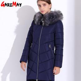 Wholesale Doudoune Femme - Women's Long Jacket 2017 Hood Winter Jacket Women Down Cotton Parka Fur Warm Coats Slim Black Coats Thick Doudoune Femme GAREMAY