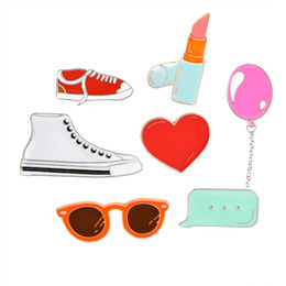 Wholesale Collar Shoes - Wholesale- 1 pcs Lipstick Sports Canvas Shoes Balloon Heart Dialog Box Glasses Brooch for Women Girl Men Jacket Collar Pins Badge Jewelry