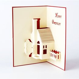 Wholesale Happy Houses - 3D Greeting Card House Handmade Paper Craft Pop Up Greeting Cards Happy Birthday Card free shipping