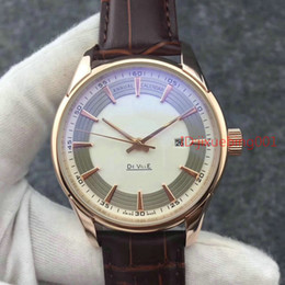 Wholesale Cal Watches - AAA QUALITY Mens Automatic White Dial Watch Men's Auto Date Chronometer Co Axial Cal 8500 Watches Men Dress Calf Leather Band Wristwatches