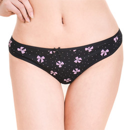 Wholesale Cotton Flower Print Underwear - (MOQ 12pcs) Yun Meng Ni Sexy Underwear Hipster Women Flower Printing Thongs Gtring Ultra Comfortable Cotton Panties