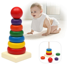 Wholesale Toddler Stacking Toys - Details about Baby Toddler Kids Tumbler Pattern Stack Up Toy Rainbow Tower Stacking Ring Toys