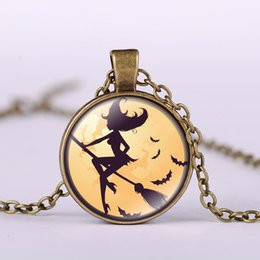 Wholesale Bronze Nice - Alloy Vintage Hallowmas bat Glass Cabochon besom witch Pendant Necklace Bronze Black Silver Chain Pendant Necklace Nice Jewelry Accessary