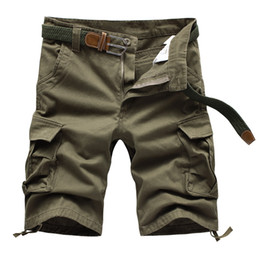 Wholesale Men S Work Pants - Wholesale-Mens Solid Cargo Shorts 2016 Brand New Army Camouflage Shorts Men Cotton Loose Work Casual Short Pants Beach shorts No Belt