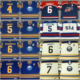 Wholesale Brown Jerry - Mens Buffalo Sabres Jersey 4 JERRY KORAB 1978 MIKE RAMSEY 6 JIM SCHOENFELD 6 PHIL HOUSLEY 7 RICK MARTIN Vintage Throwback Hockey Jersey