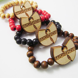 Wholesale Dancer Jewelry - Good wood hip-hop Wu Tang wutang wooden bracelets hiphop dancer jewelry hot sale wholesale