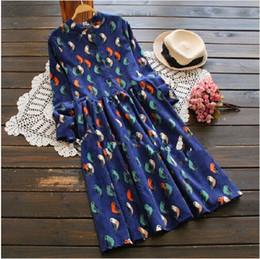 Wholesale Cotton Corduroy Girl Dress - 2016 Mori Girl Vintage Print Women Dresses Spring full Sleeve Birds Print Princess Corduroy Graceful dress
