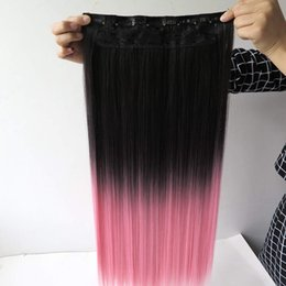 """Wholesale Heat Resistant Synthetic Hair Extension - 5Clips Heat Resistant Fiber Synthetic Clip in Hair Extensions Straight 24"""" 135grams More Color Women Hairpiece Accessories"""