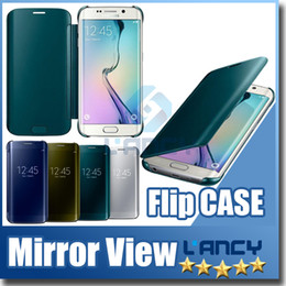 Wholesale Hd Mirror Screen Protector - 2016 new Clear View Cover For Samsung GALAXY S6 S7 Edge note 4 5 Case Mirror Screen Flip Leather Capa HD Screen Protector