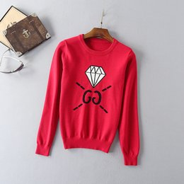 Wholesale Knit Sweater Patterns Women - Wholesale- 2016 Autumn Newes Brief Style Cotton Pullovers O-Neck Full Sleeve Diamond Pattern Letter Fashion Silk Knitted Sweater Women